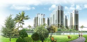 khong gian xanh tai Vinhomes Riverside Hai Phong