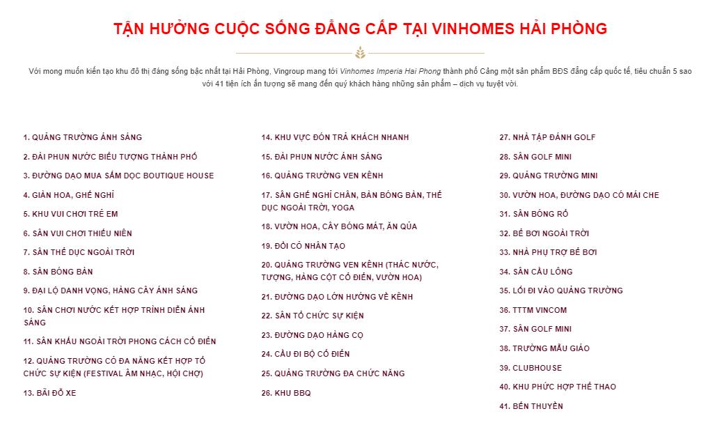 He thong tien ich Vinhomes Hai Phong